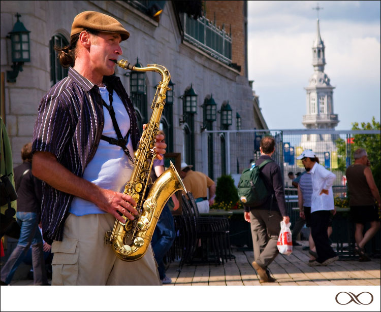Quebec City Dufferin Terrace with Saxophone Player